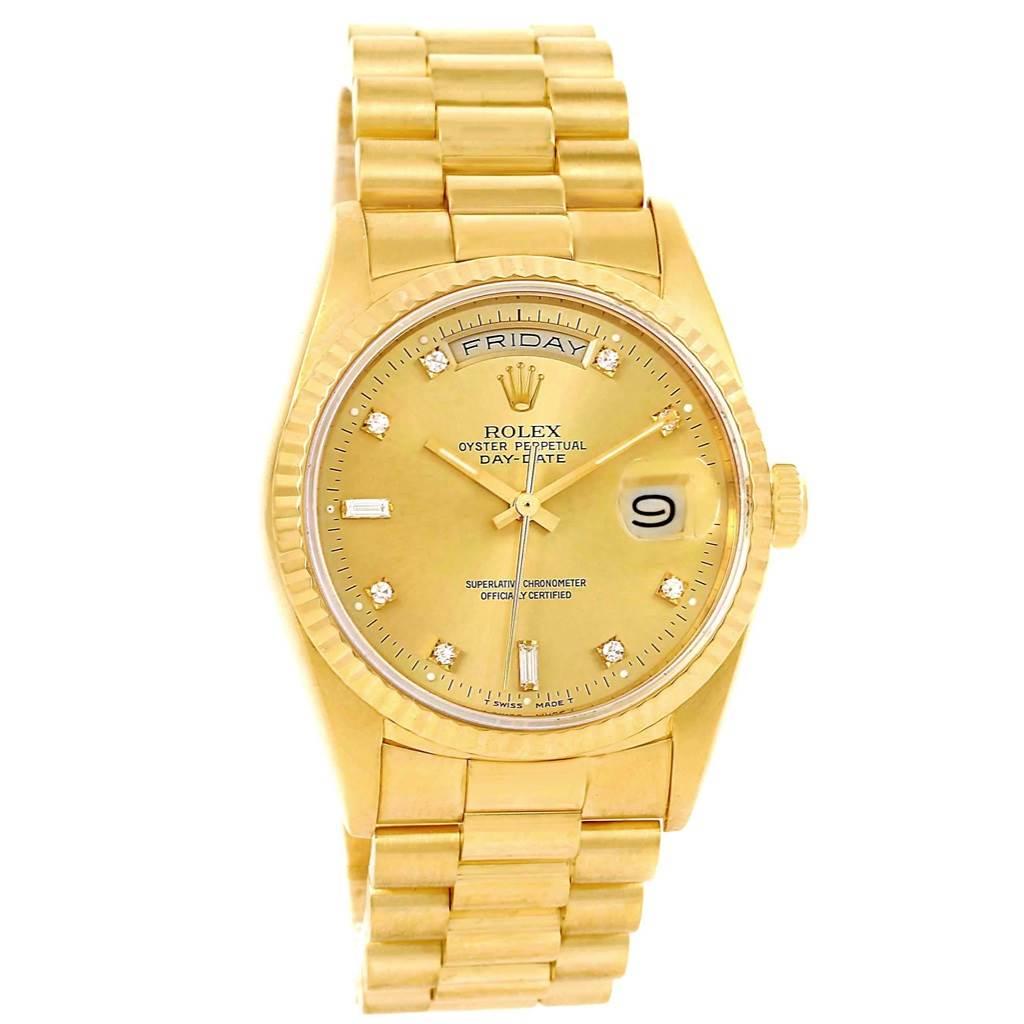 rolex president daydate yellow gold diamond mens watch 18238