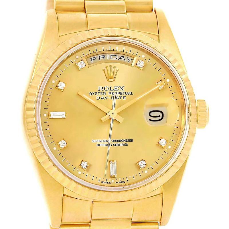 Rolex President Day-Date Yellow Gold Diamond Mens Watch 18238 SwissWatchExpo