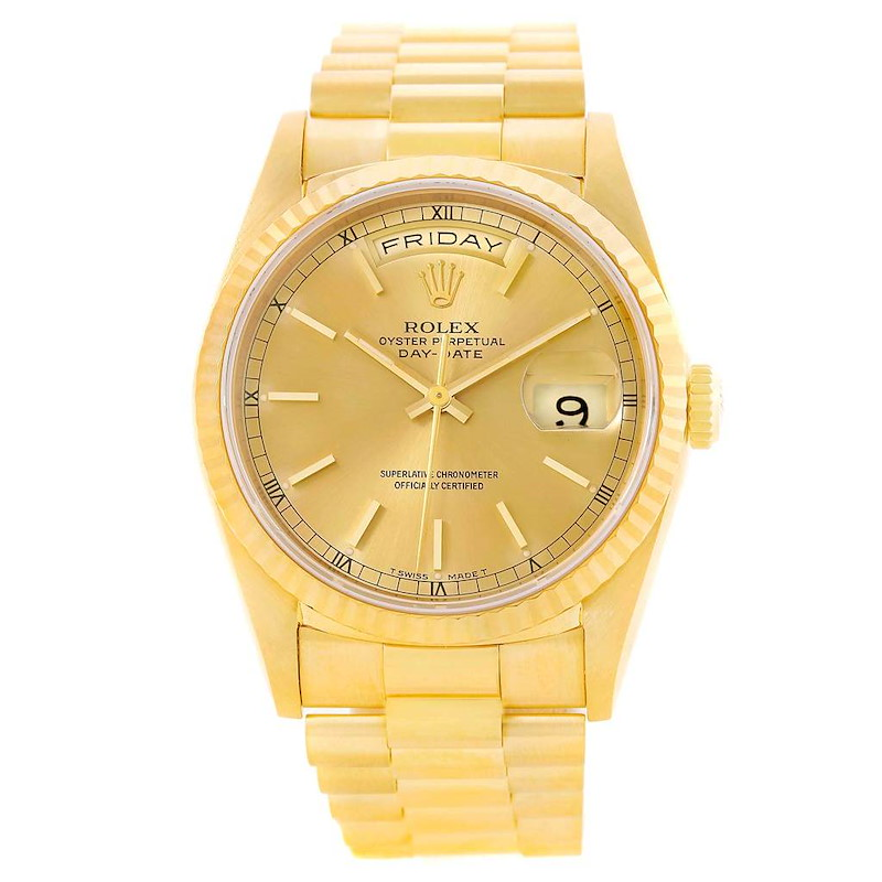 Rolex President Day-Date Yellow Gold Champagne Dial Mens Watch 18238 SwissWatchExpo