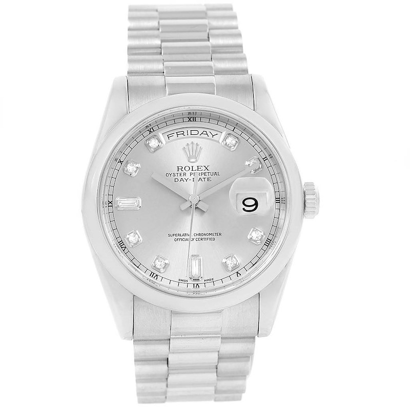 Rolex President Day-Date Platinum Diamond Dial Watch 118206 Box Papers SwissWatchExpo