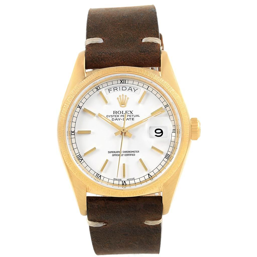 Rolex president day date 36 yellow gold white dial mens watch 18078 for Rolex day date 36