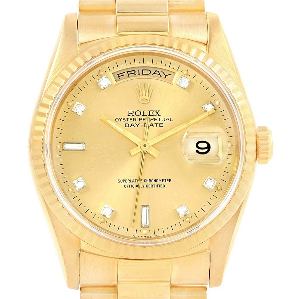 17177 Rolex President Day-Date 18K Yellow Gold Diamond Dial Mens Watch 18238 SwissWatchExpo