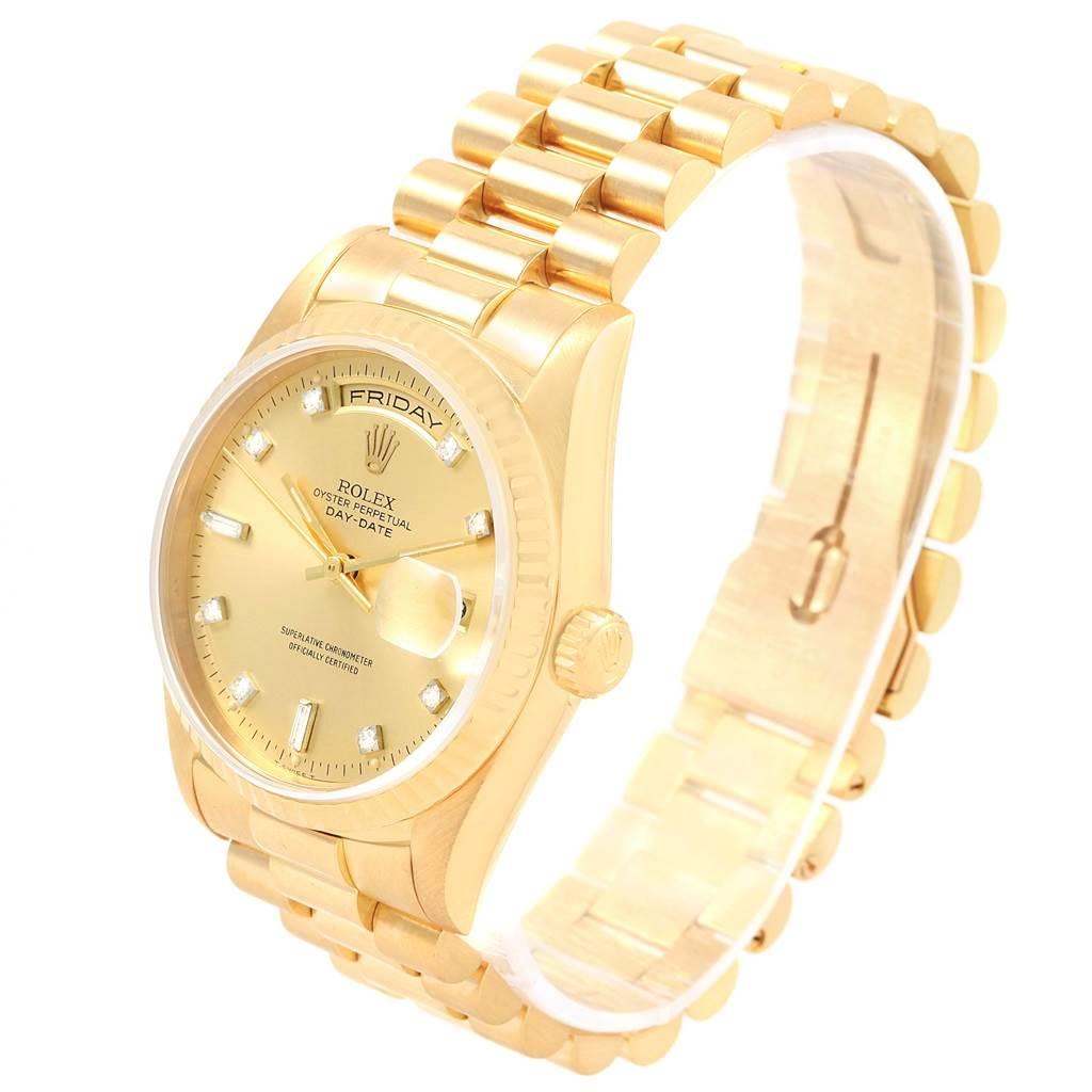 Rolex President Day-Date 18K Yellow Gold Diamond Dial Mens Watch 18238 SwissWatchExpo