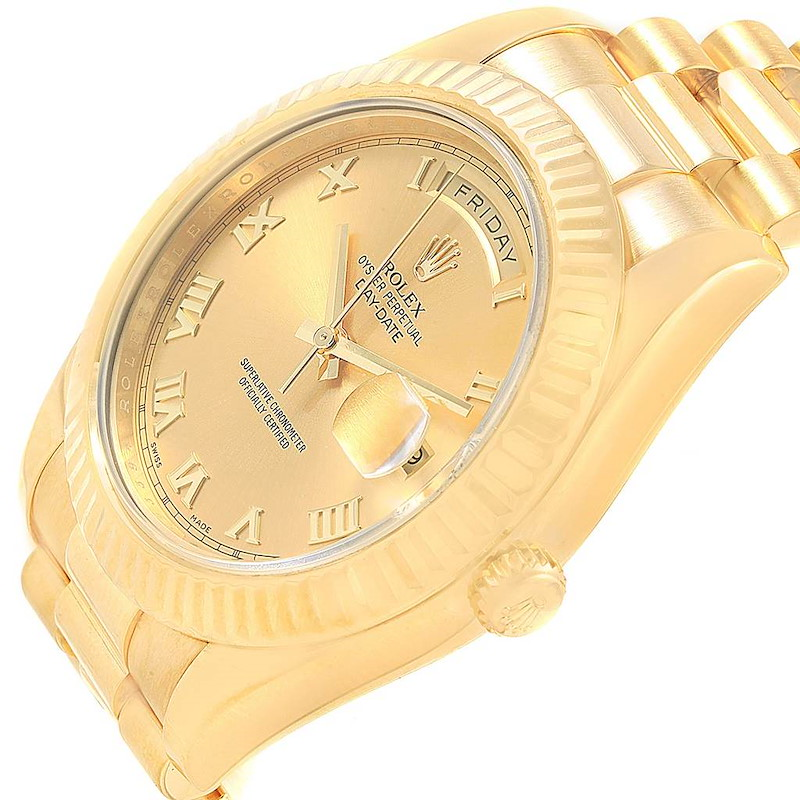 Rolex Day-Date II President Yellow Gold Champagne Dial Watch 218238 SwissWatchExpo