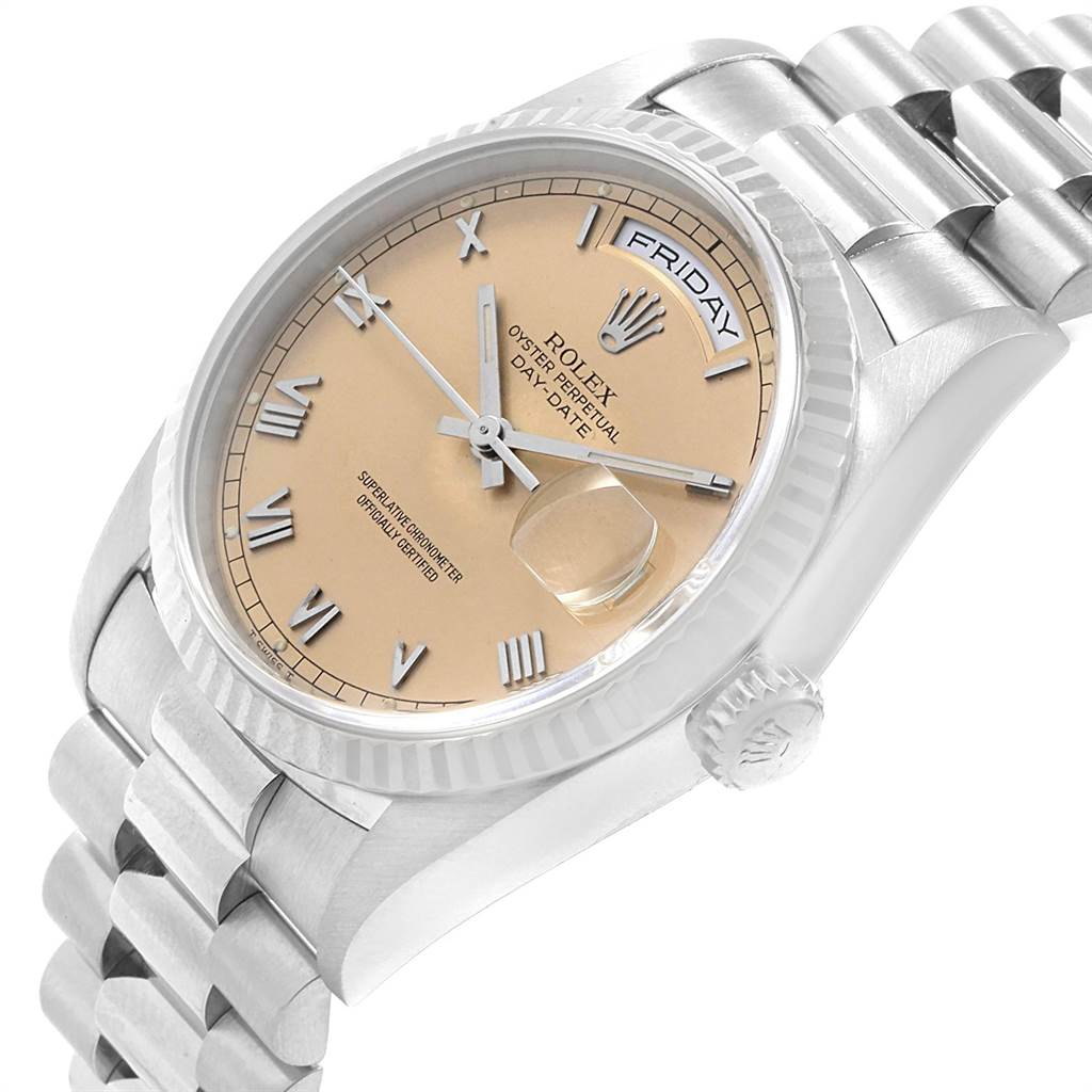 18751 Rolex President Day-Date White Gold Salmon Roman Dial Mens Watch 18239 SwissWatchExpo