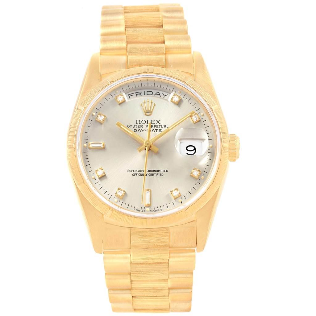 Rolex president day date 36 yellow gold silver diamond dial mens 18248 watch for Rolex day date 36