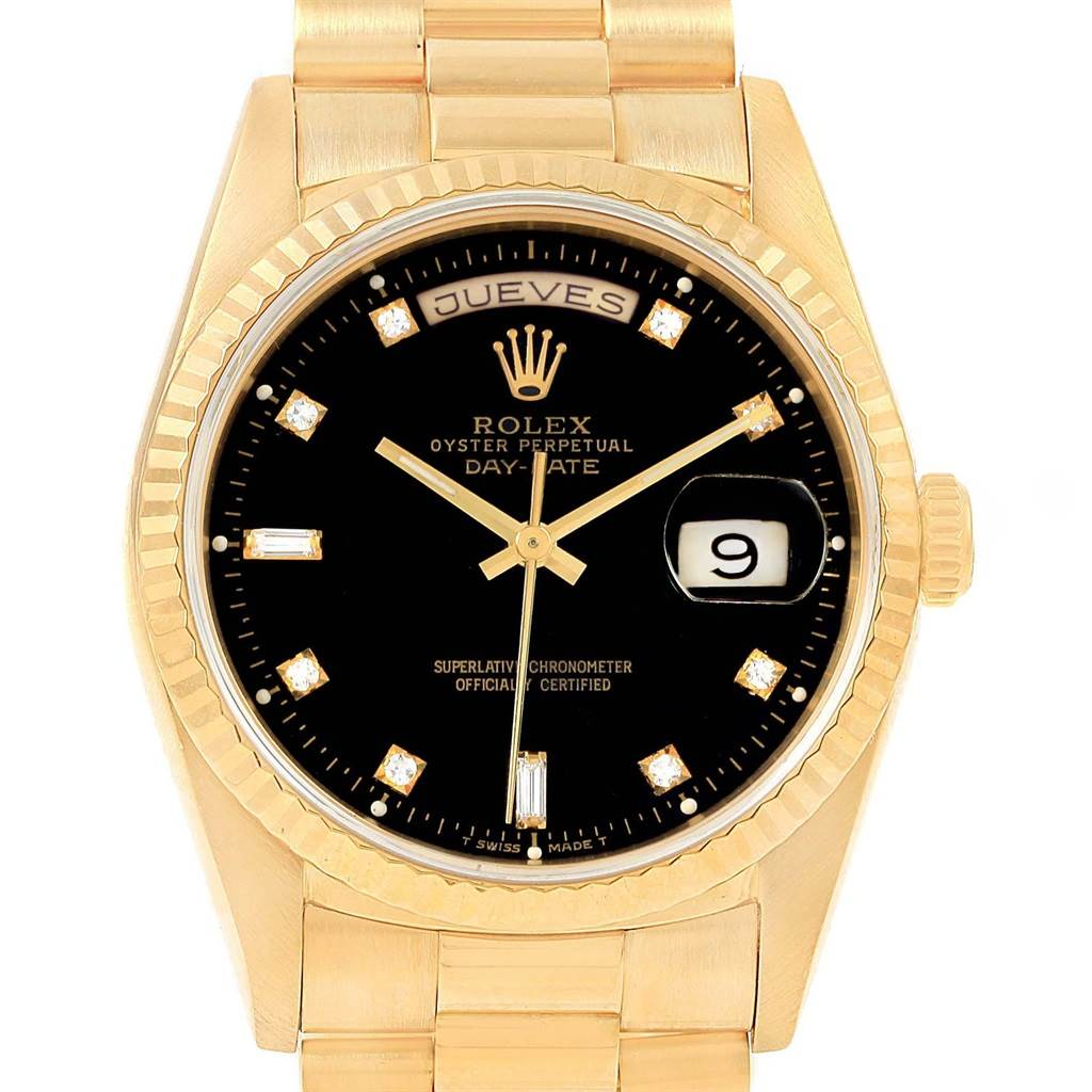 Rolex president day date 36 yellow gold black diamond dial watch 18238 for Rolex day date 36