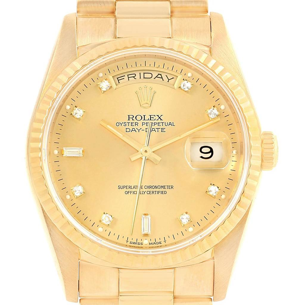 Rolex president day date 36 yellow gold diamonds mens watch 18238 swisswatchexpo for Rolex day date 36