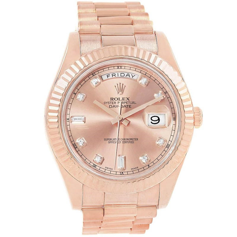 Rolex Day-Date II 41 President EveRose Gold Diamond Mens Watch 218235 SwissWatchExpo
