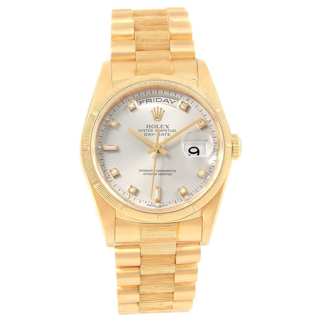 3bbb27e1e122 ... 20115 Rolex President Day-Date 36 Yellow Gold Diamond Mens 18248 Box  SwissWatchExpo ...
