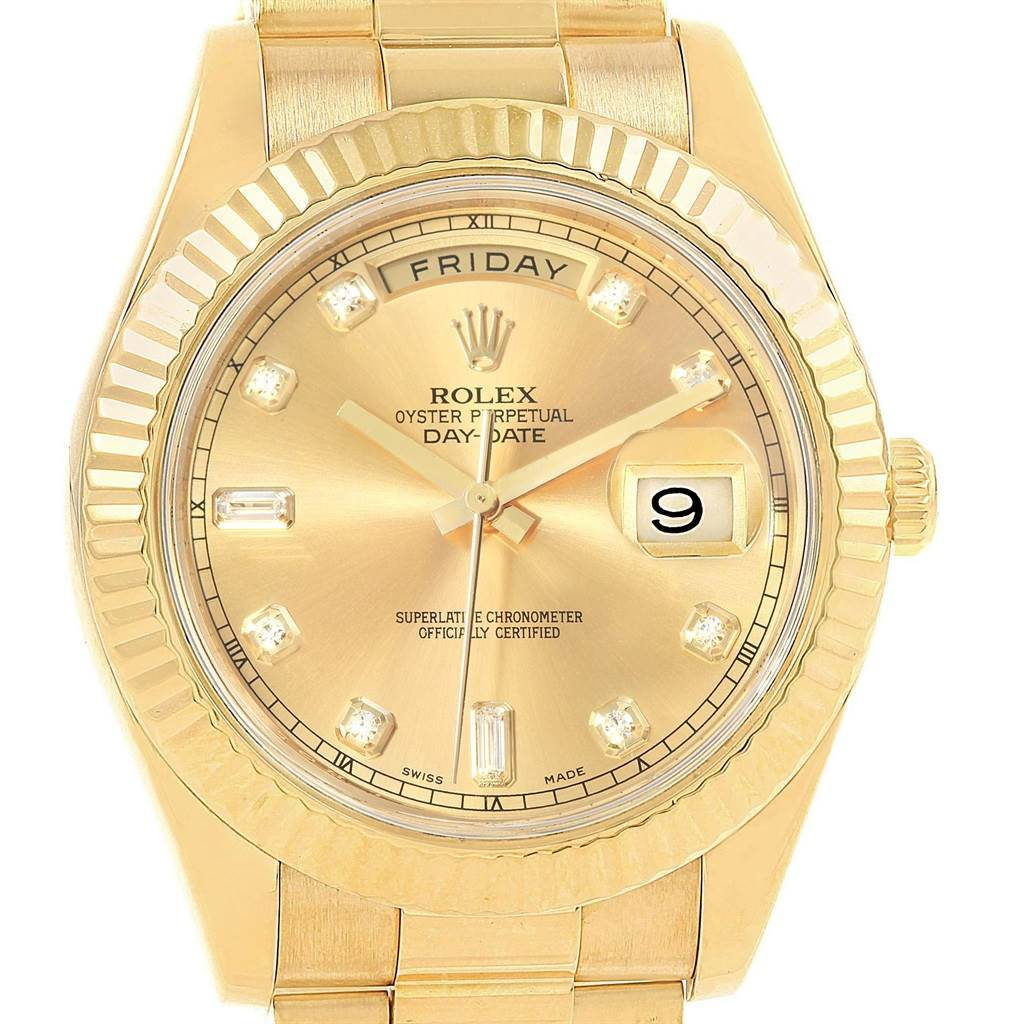Rolex Day Date Ii 41 President Yellow Gold Diamond Mens Watch 218238