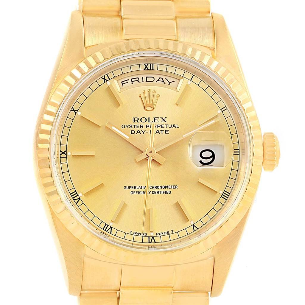 Rolex president day date 36 yellow gold champagne dial mens watch 18238 for Rolex day date 36