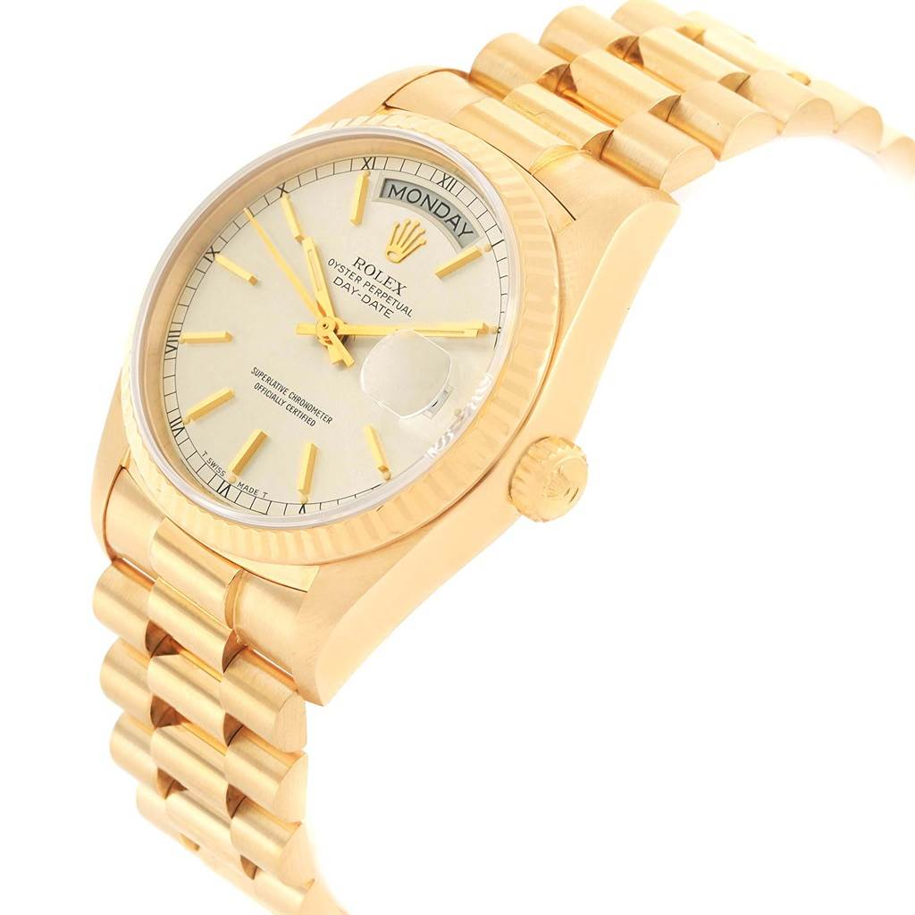 Rolex President Day Date Yellow Gold Silver Dial Mens Watch 18038