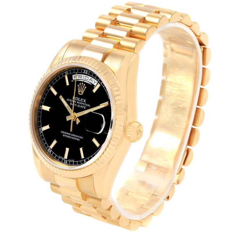 Rolex President Day-Date Black Dial Yellow Gold Mens Watch 118238 SwissWatchExpo