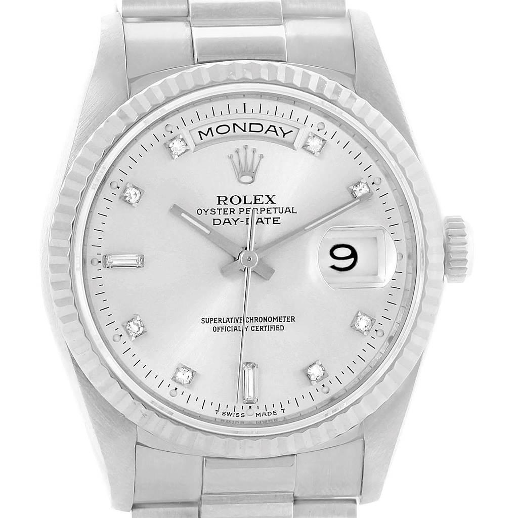 da05a2527b03 ... 20711 Rolex President Day-Date 18k White Gold Diamond Mens Watch 18239  SwissWatchExpo ...