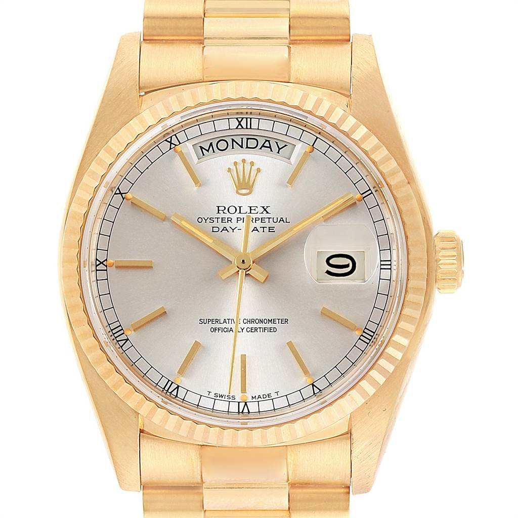 Rolex President Day Date 36mm Yellow Gold Silver Dial Mens Watch 18038