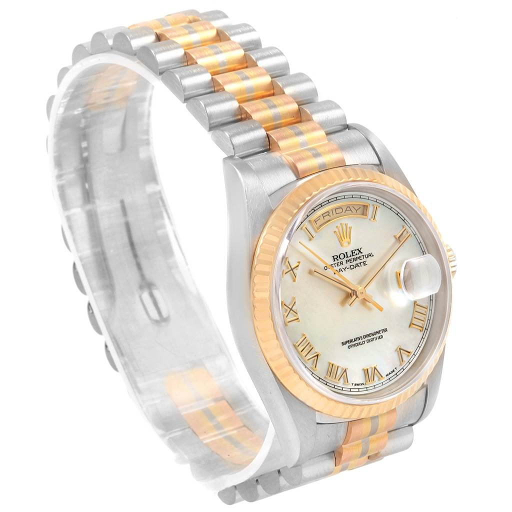 20739 Rolex President Day-Date Tridor White Yellow Rose Gold Mens Watch 18239 SwissWatchExpo