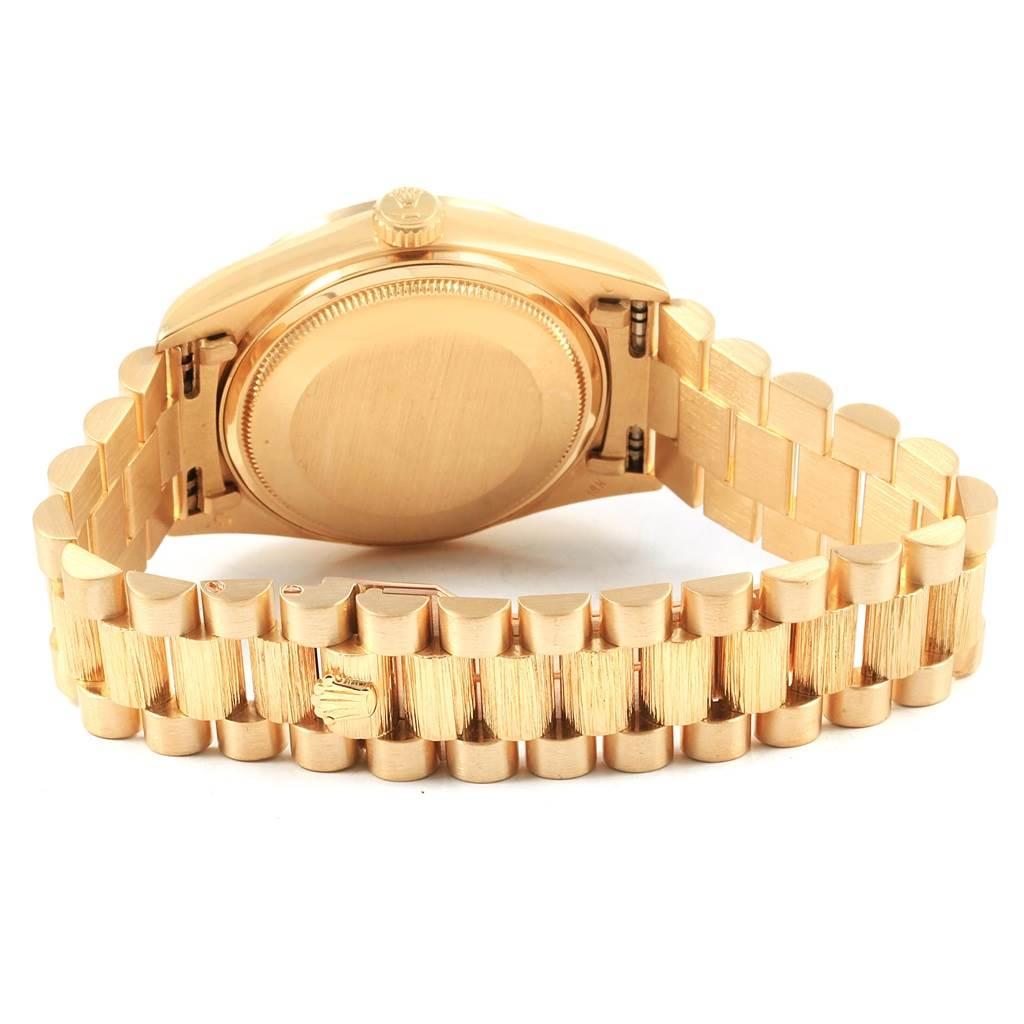 20698 Rolex President Day-Date 36 Yellow Gold Bark Finish Mens Watch 18078 SwissWatchExpo