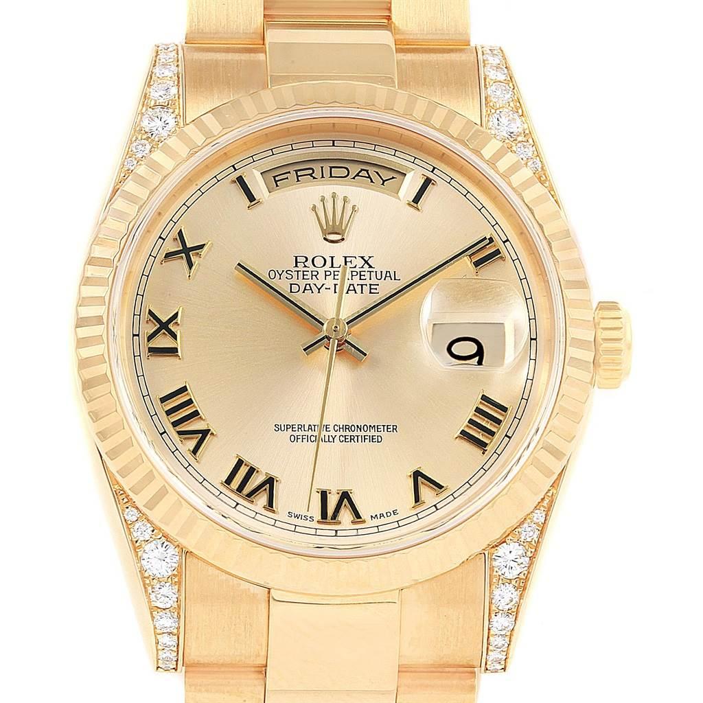 20972 Rolex President Day Date Yellow Gold Diamond Lugs Mens Watch 118338 SwissWatchExpo