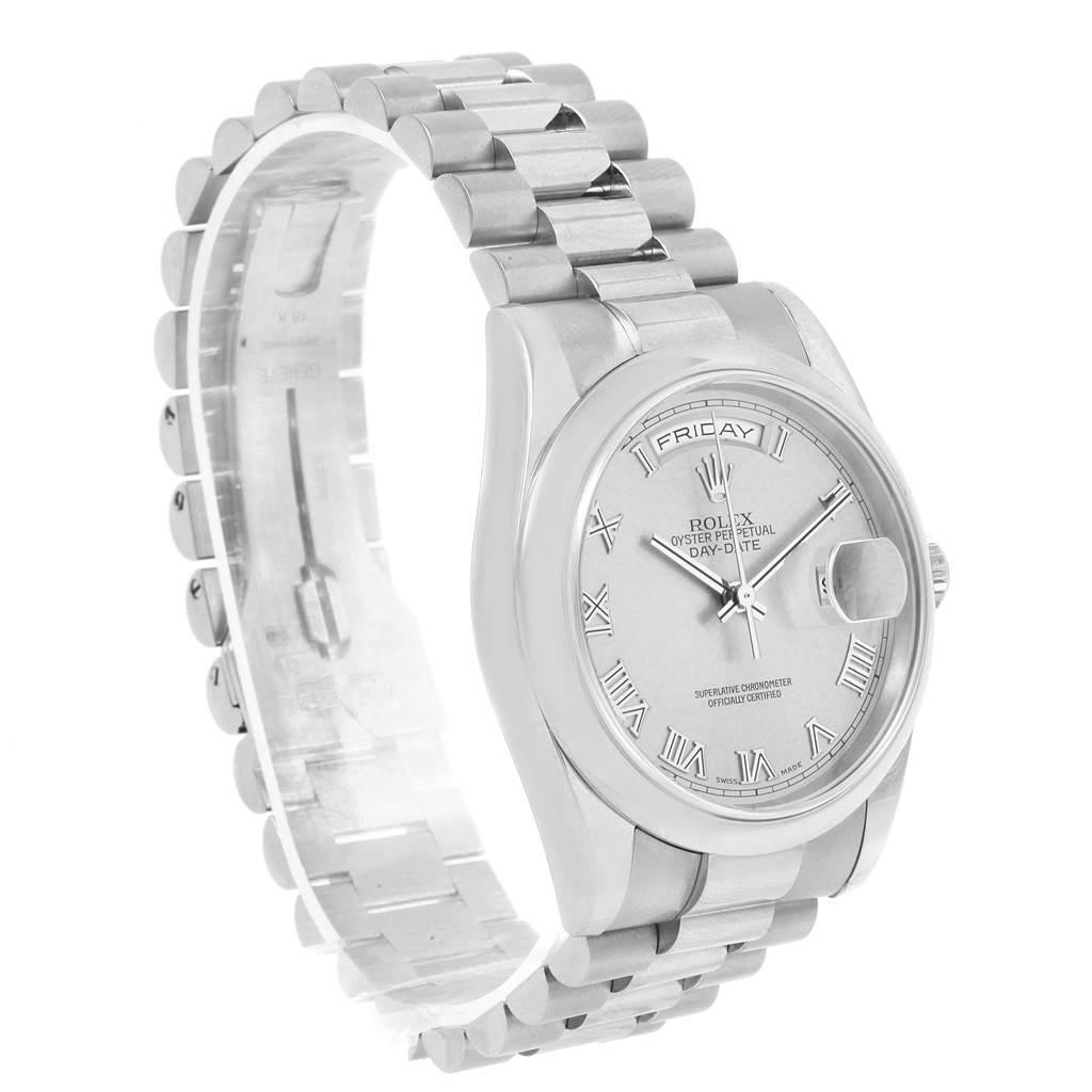 Rolex President Day-Date 18k White Gold Roman Dial Mens Watch 118209 SwissWatchExpo