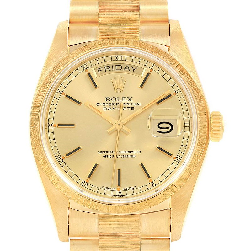Rolex President Day-Date 36 Yellow Gold Bark Mens Watch 18078 Box SwissWatchExpo