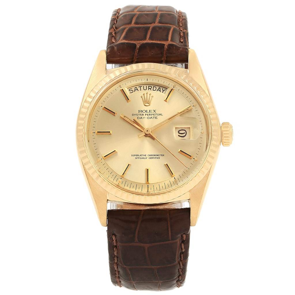 21209 Rolex President Day-Date 18K Yellow Gold Brown Strap Mens Watch 1807 SwissWatchExpo