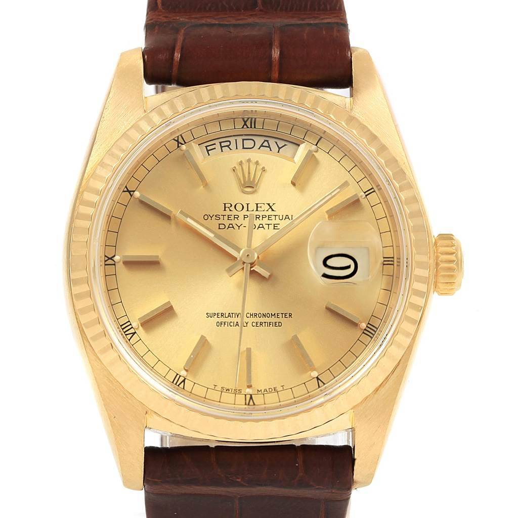 21059 Rolex President Day-Date 36 Yellow Gold Champagne Dial Mens Watch 18038 SwissWatchExpo