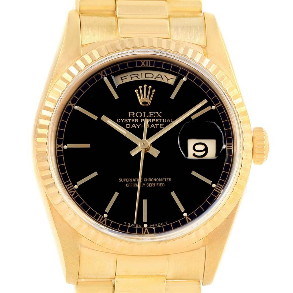 Rolex president day date 36 yellow gold black dial mens watch 18238 for Rolex day date 36