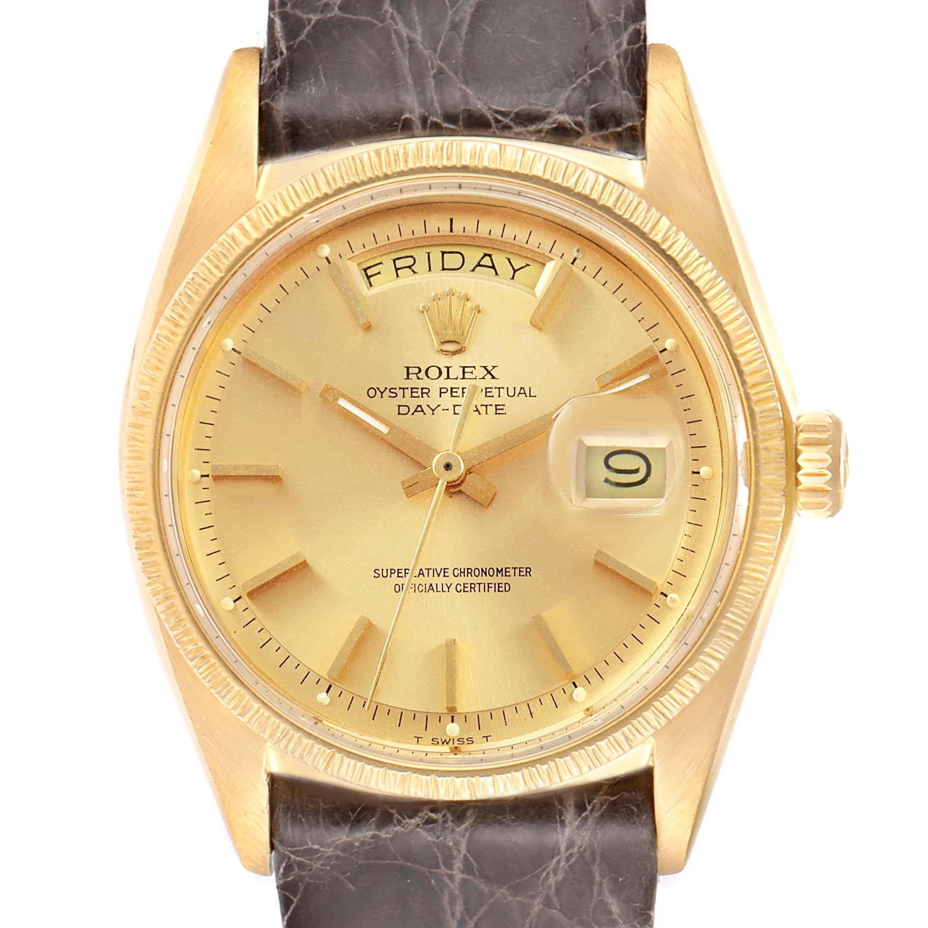 Rolex President Day-Date Yellow Gold Brown Strap Mens Watch 1807