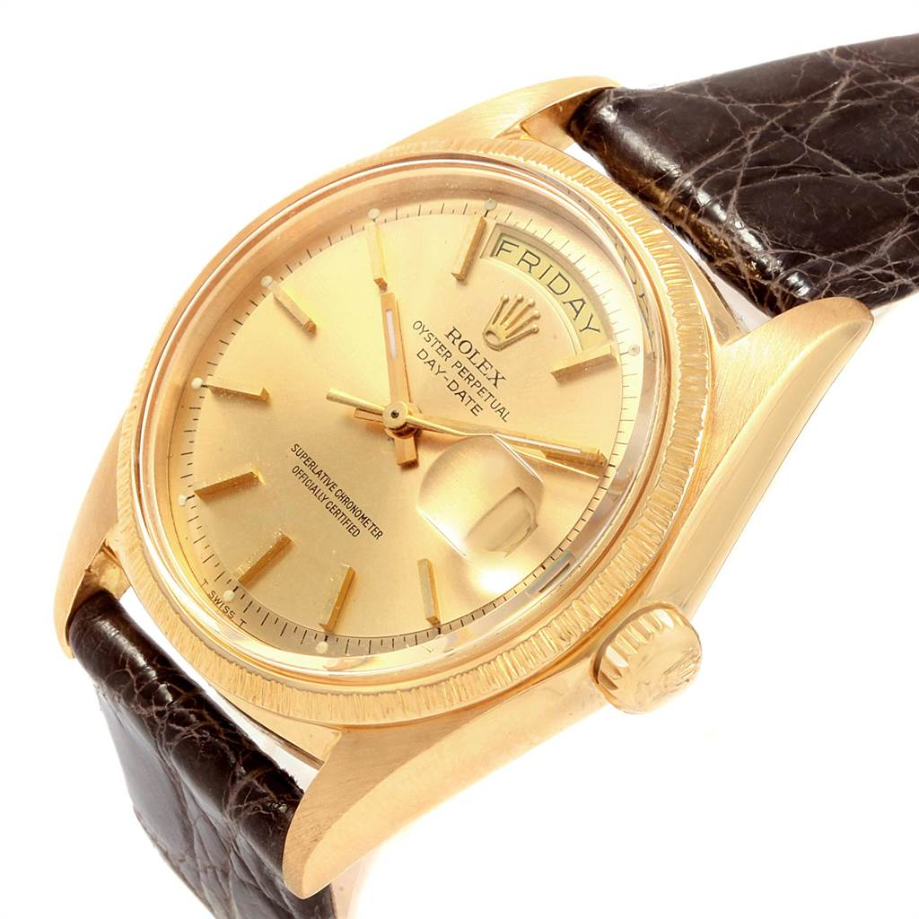21628 Rolex President Day-Date Yellow Gold Brown Strap Mens Watch 1807 SwissWatchExpo