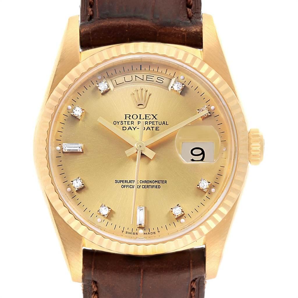 18124A Rolex President Day-Date 36 Yellow Gold Diamonds Mens Watch 18238 SwissWatchExpo