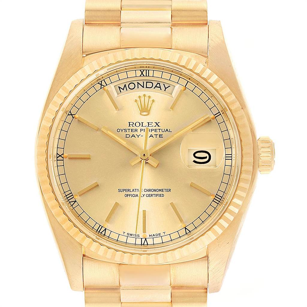 22500 Rolex President Day-Date Mens 18k Yellow Gold Mens Watch 18038 SwissWatchExpo