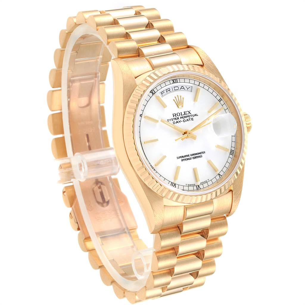 22544 Rolex President Day-Date 36 Yellow Gold White Dial Mens Watch 18238 SwissWatchExpo