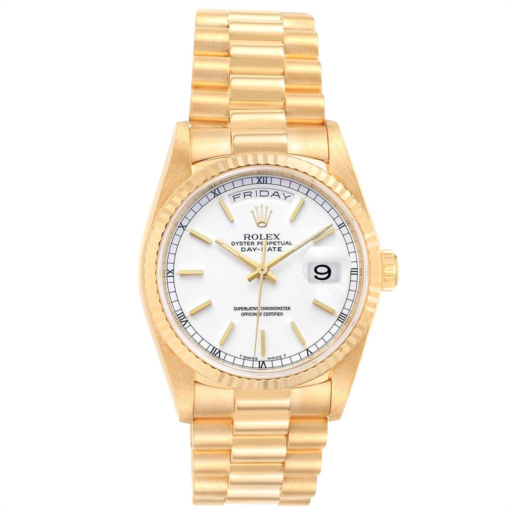 Rolex President Day-Date 36 Yellow Gold White Dial Mens Watch 18238 SwissWatchExpo