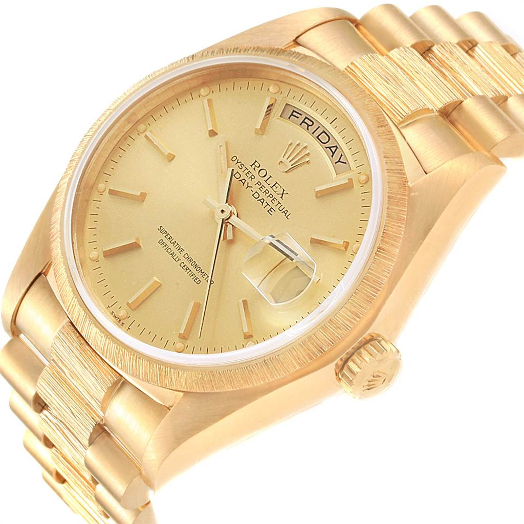 22497 Rolex President Day-Date 36 Yellow Gold Bark Finish Mens Watch 18078 SwissWatchExpo