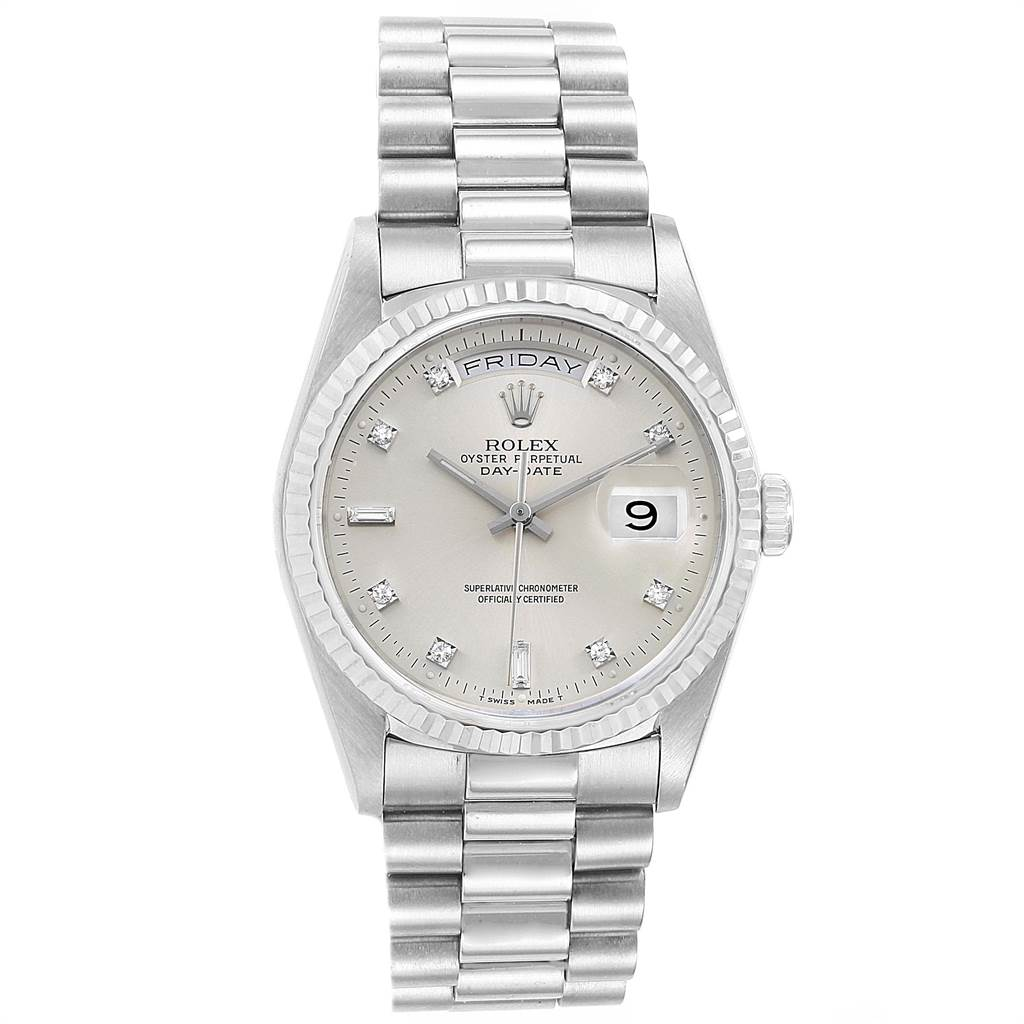 22492 Rolex President Day-Date White Gold Diamond Mens Watch 18239 Box Papers SwissWatchExpo
