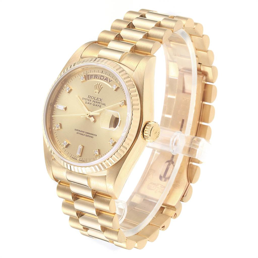 22499 Rolex President Day Date 18k Yellow Gold Diamond Mens Watch 18038 SwissWatchExpo