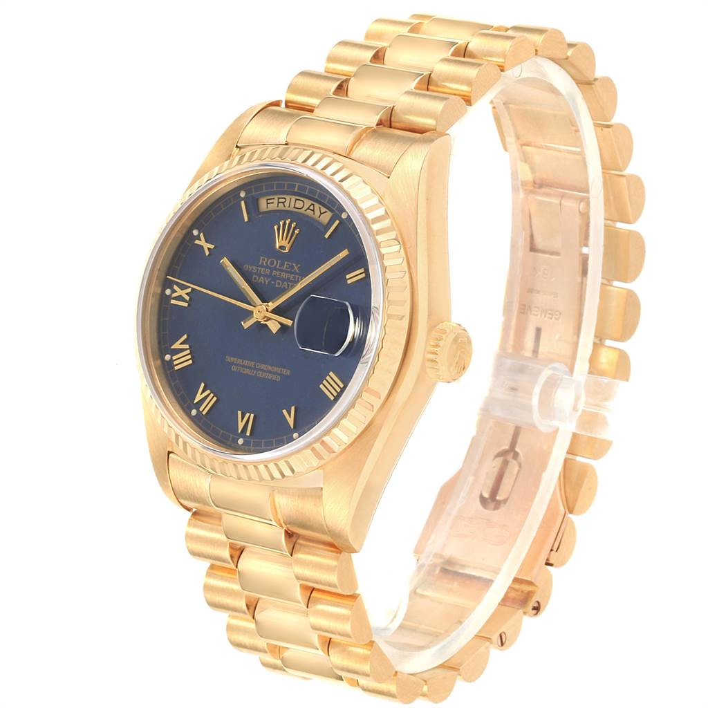22563 Rolex President 36 Day-Date Yellow Gold Blue Dial Mens Watch 18038 SwissWatchExpo