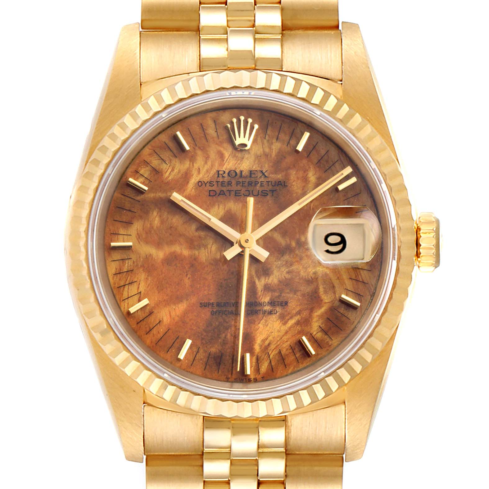 Rolex Date 18k Yellow Gold Burl Wood Dial Mens Watch 16238 Box Papers