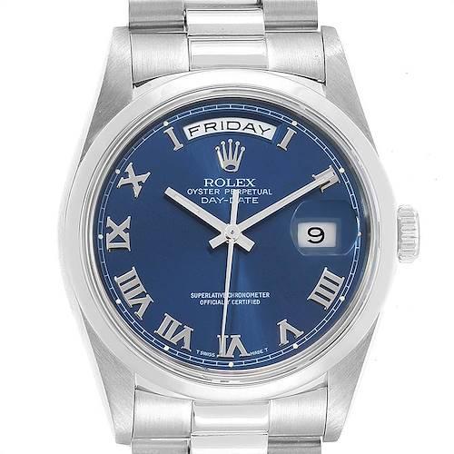 Photo of Rolex President Day-Date Platinum Blue Roman Dial Watch 18206