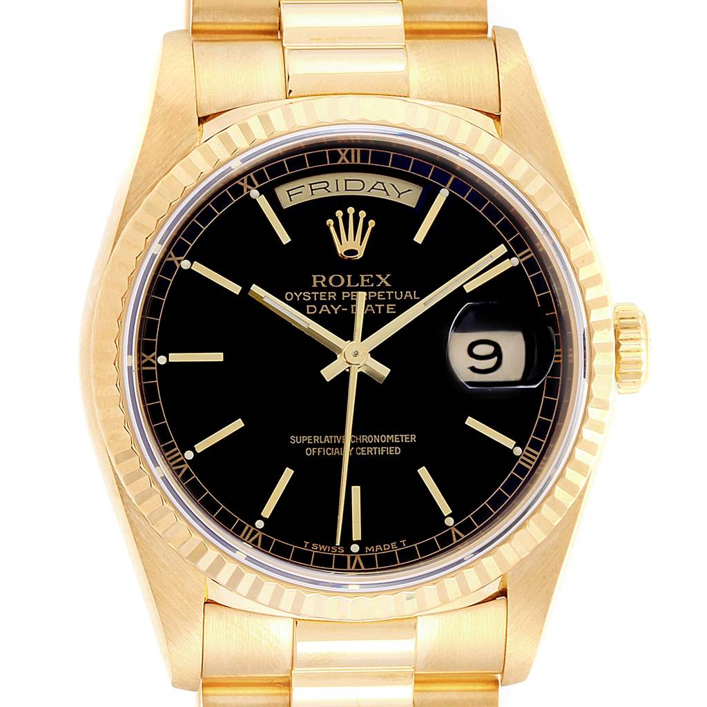 22859 Rolex President Day-Date 36 Yellow Gold Black Dial Mens Watch 18238 SwissWatchExpo