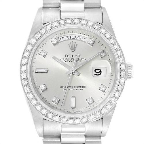 Photo of Rolex President Day-Date Platinum Diamond Mens Watch 18346
