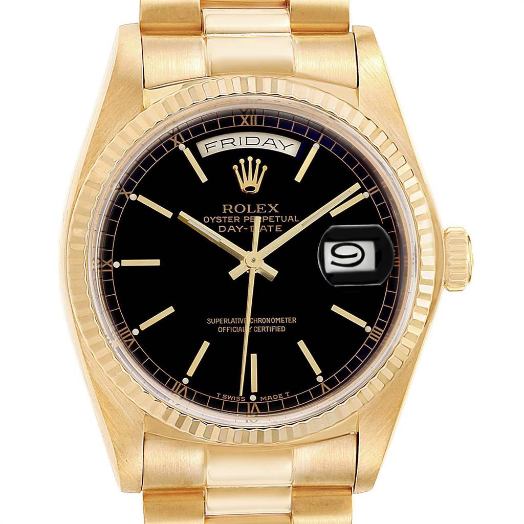 23075 Rolex President Day-Date Yellow Gold Black Dial Mens Watch 18038 SwissWatchExpo