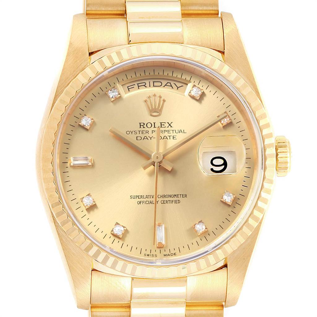 c6c51024ca0 ... 22677 Rolex President Day-Date Yellow Gold Diamonds Mens Watch 18238  Box Papers SwissWatchExpo ...