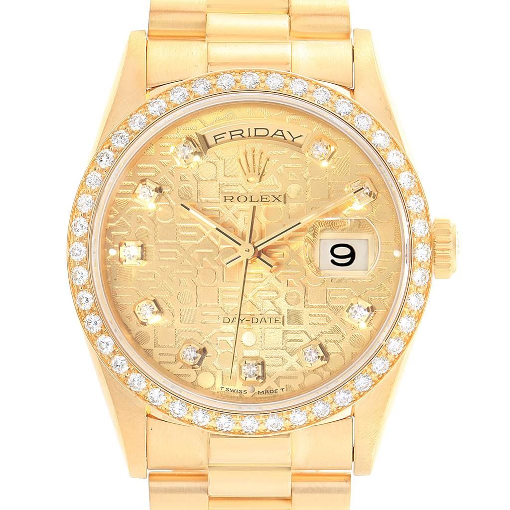 Rolex President Day Date Yellow Gold Diamond Dial Bezel Mens Watch 18348