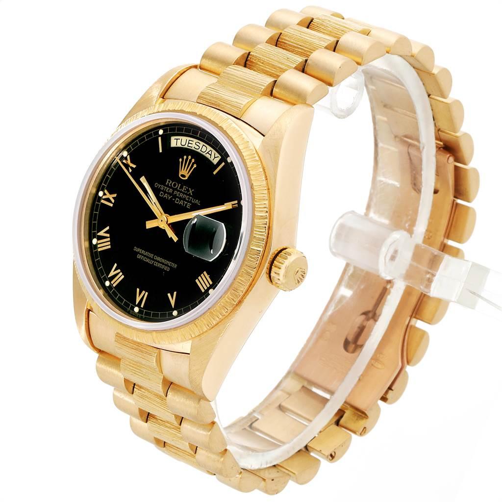 23088 Rolex President Day-Date Yellow Gold Black Roman Dial Mens Watch 18038 SwissWatchExpo