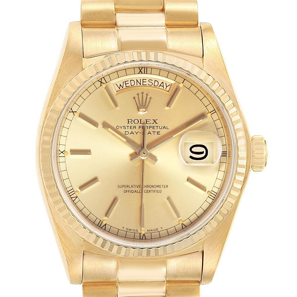 23649 Rolex President Day-Date 36mm Yellow Gold Mens Watch 18038 SwissWatchExpo