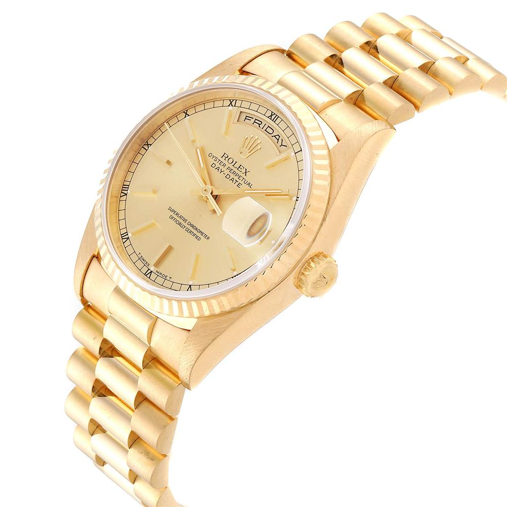 23506 Rolex President Day-Date 36 Yellow Gold Champagne Dial Mens Watch 18238 SwissWatchExpo