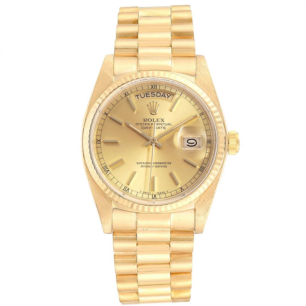 3544X Rolex President Day-Date 36mm Yellow Gold Mens Watch 18038 SwissWatchExpo
