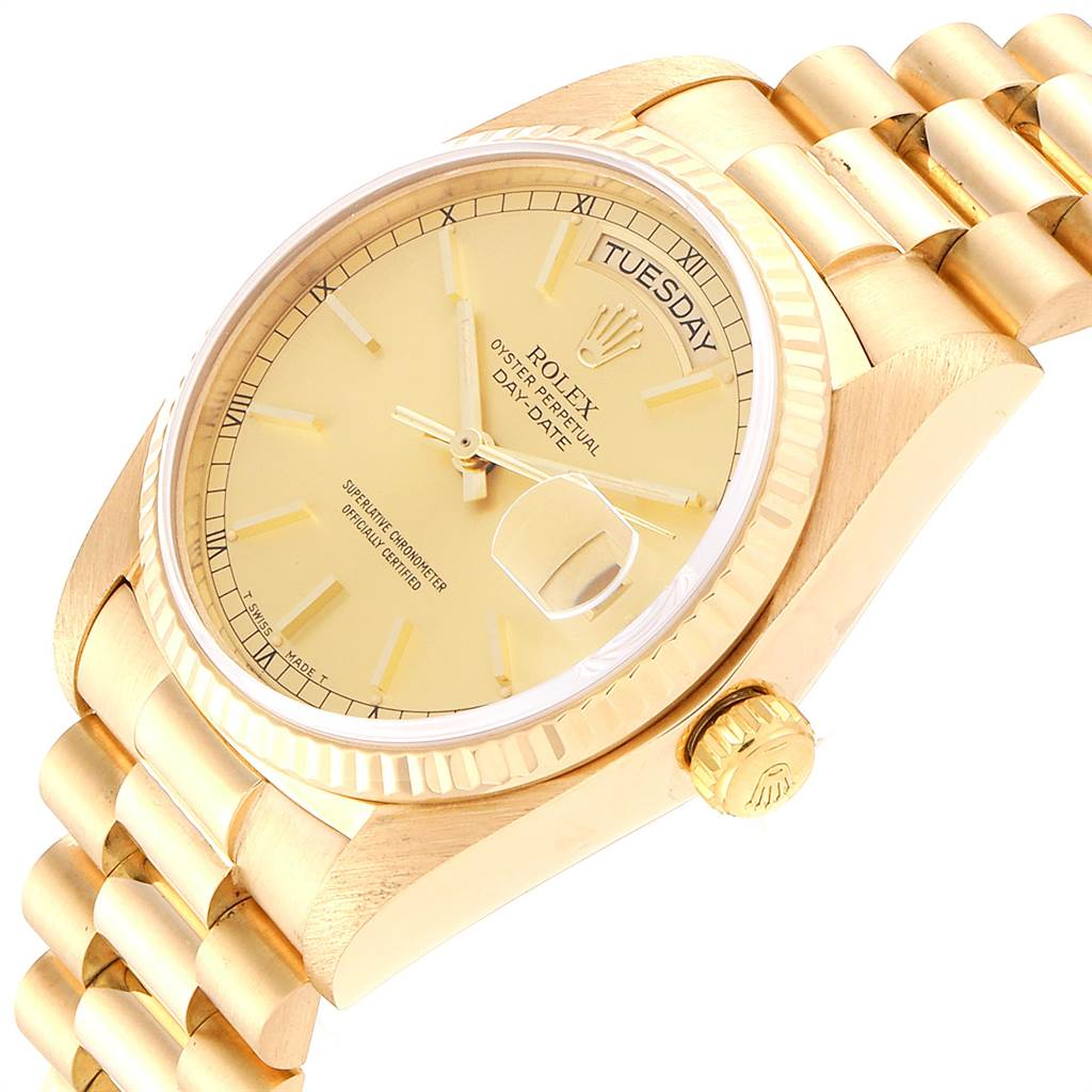 3544X Rolex President Day-Date 36mm Yellow Gold Mens Watch 18038 SwissWatchExpo